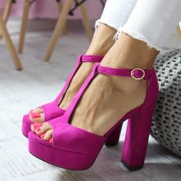 Sandały Różowa Kobiecość Na Słupku 6549