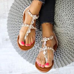 Sandały Srebrne Japonki Cyrkonie - Łańcuszek 6548