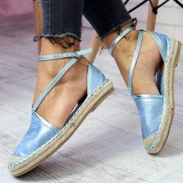 Sandały Niebieski Błyszczące Espadryle Paski 6546