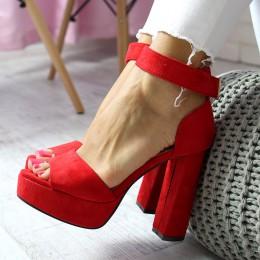 Sandały Sexy Czerwony - Pasek Na Rezpę 6544