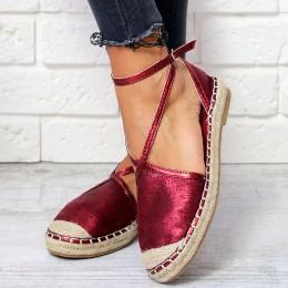 Sandały Czerwone Błyszczące Espadryle Paski 6541