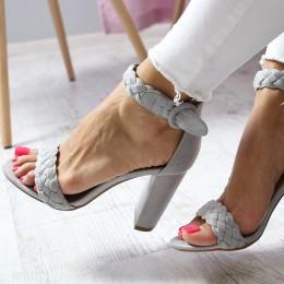 Sandały Zamszowe Przeplatane Warkocze 6540
