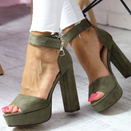Sandały Sexy Zielony - Pasek Na Rezpę 6534