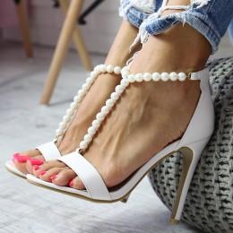 Sandały Sexy Białe Eleganckie Perełki 6555