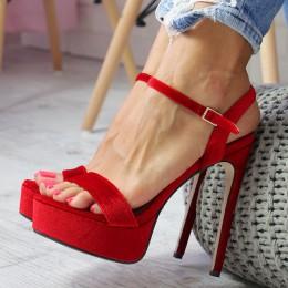 Sandały Welurowe Czerwone Paseczek Kostka 6558