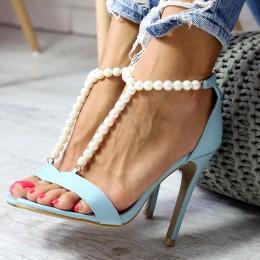 Sandały Sexy Błękitne Eleganckie Perełki 6569