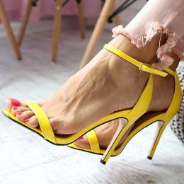 Sandały Lakierowane Klasyczne Żółte Szpilka 6576