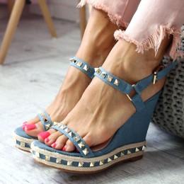 Sandały Na Koturnie Niebieski Jeans 6578