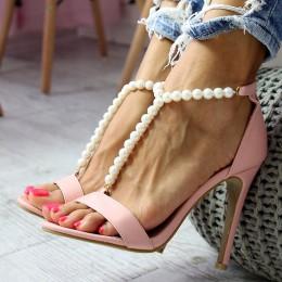 Sandały Sexy Różowe Eleganckie Perełki 6579
