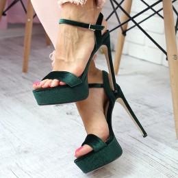 Sandały Welurowe Zielone Paseczek Kostka 6583