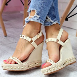 Sandały Na Koturnie Beżowy Jeans 6594