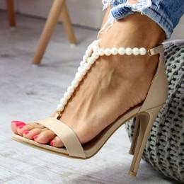 Sandały Sexy Beżowe Eleganckie Perełki 6597