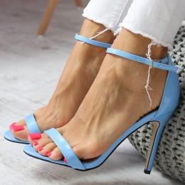 Sandały Lakierowane Klasyczne Błękitne Szpilka 6608