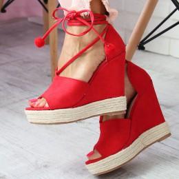 Sandały Czerwone Sznurowane Na Koturnie 6610