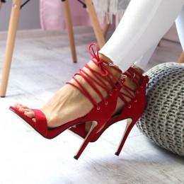 Sandały Czerwone Zamszowe Na Szpilce Gorset 6612