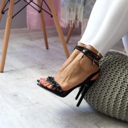 Sandały Czarny Sexy Gorset - Wiązane 6617