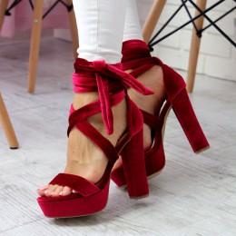 Sandały Welurowe Czerwone Słupek - Wiązane 6628