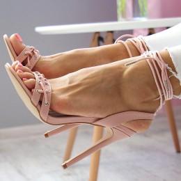 Sandały Różowy Sexy Gorset - Wiązane 6685