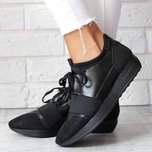 nie -  Trampki Czarne Adidasy Designerksie Czubaszki 6754