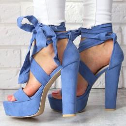 Sandały Zamszowe Błękitne Słupek - Wiązane 6765