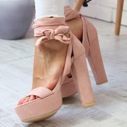 Sandały Zamszowe Różowe Słupek - Wiązane 6777