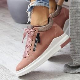 Sneakersy Różowy Zamsz Brokatowe Dodatki 6788