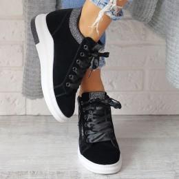 Sneakersy Czarne Zamsz Brokatowe Dodatki 6808