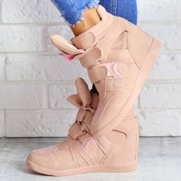 Sneakersy Różowy Zamsz Na Ukrytej Koturnie 6916