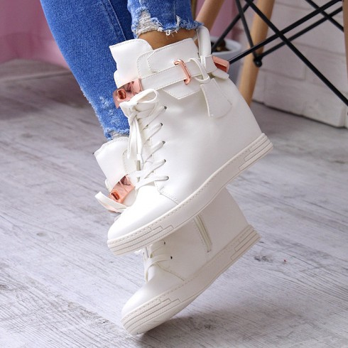 nie - Sneakersy Białe Na Koturnie Blaszki i Kłódka 6920
