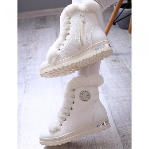 Sneakersy Modne Białe Futro Srebrne Blaszki 6928
