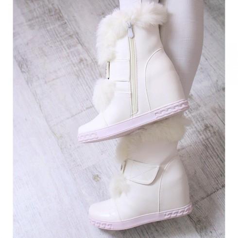 Sneakersy Eko Białe FuterkoNa Rzepę Cyrkonie 6940