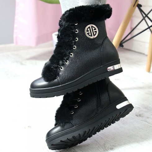 Sneakersy Modne Czarne Futro Srebrne Blaszki 6946