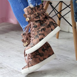 Sneakersy Moro Róż Wiązane Tasiemką Na Koturnie 6948