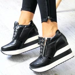 Sneakersy Czarne Krótkie Koturny W Paski - Zamek 7027