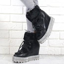 Sneakersy Czarne Śniegowce Na Koturnie 7036