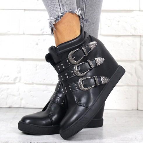 Sneakersy Czarne Unikalne Żłobione Klamerki 7038