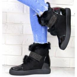 Sneakersy Czarne Futerkowe Lakierowany Nosek 7141