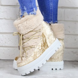 Sneakersy Cappuccino Śniegowce Na Koturnie 7149