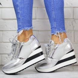 Sneakersy Błyszczace Srebrne Koturny W Paski 7155