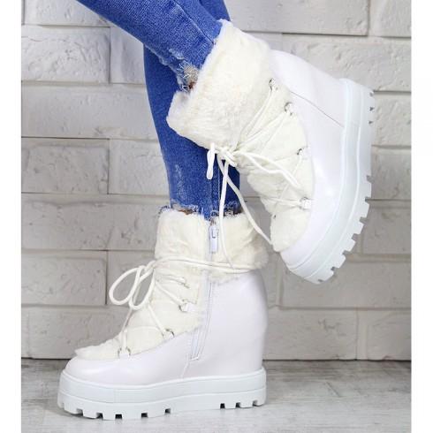 Sneakersy Białe Śniegowce Na Koturnie 7169