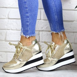 Sneakersy Błyszczace Złote Koturny W Paski 7170