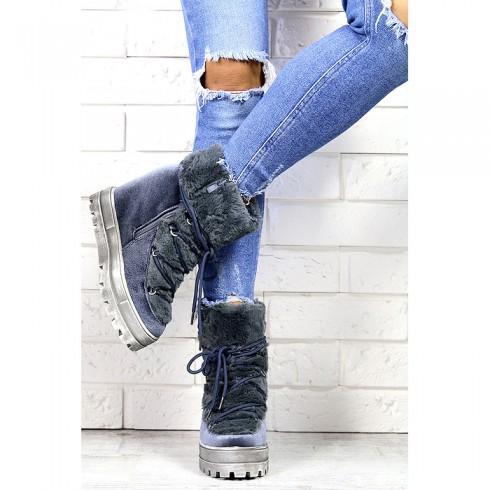 Sneakersy Szaro Niebieskie Śniegowce Na Koturnie 7179