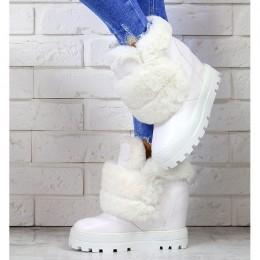 Sneakersy Białe Śniegowce Na Koturnie 7183