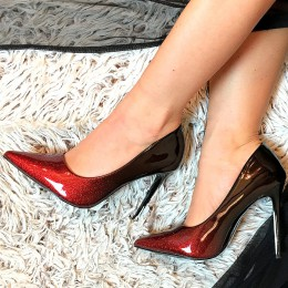 Czółenka Czerwony Glitter - Ombre Czubaszki 7192