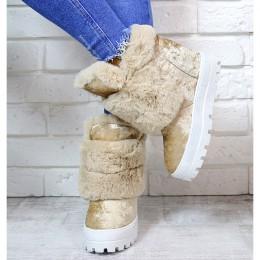 Sneakersy Cappuccino Śniegowce Na Koturnie 7168