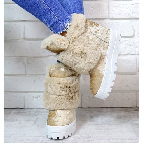 nie - Sneakersy Cappuccino Śniegowce Na Koturnie 7168