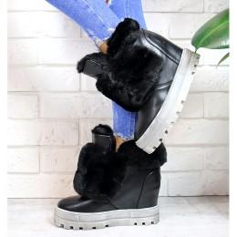 Sneakersy Czarne Śniegowce Na Koturnie 7196