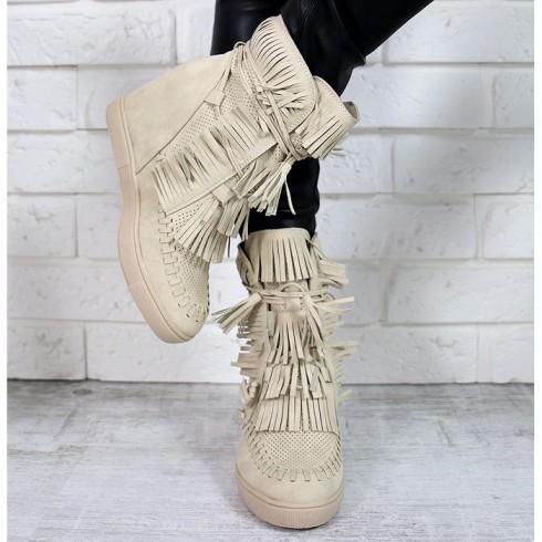Sneakersy Beżowe Dziurkowane Ukryty Koturn 7209