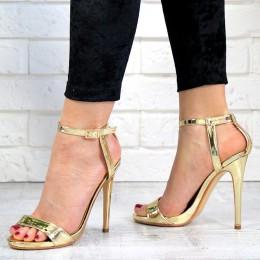 Sandały Sexy Złote Zapinane Na Kostce 7213