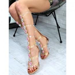 Sandały Biżuteryjne Szampańskie Gladiatorki Silikonowe Paski 7222